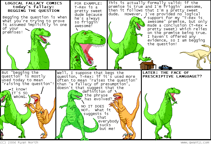 logical fallacy comics t rex dinosaur begging