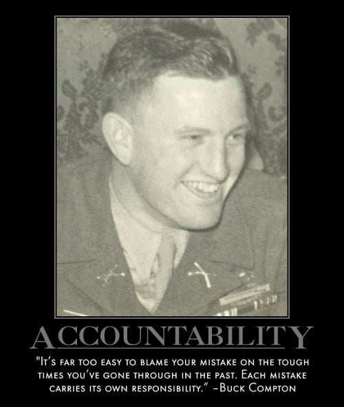buck compton mistake responsibility quote motivational poster