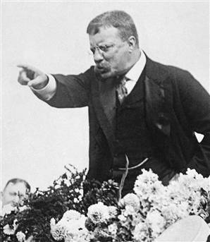 teddy theodore roosevelt giving speech pointing hand gesture