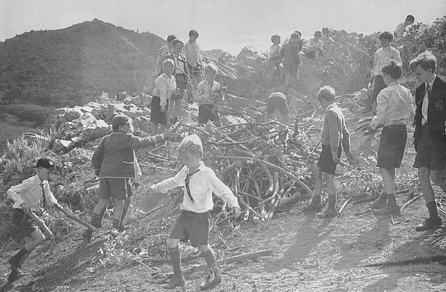 Vintage boys making large bonfire.