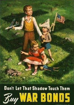 vintage war bonds poster nazi shadow children