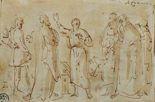Socrates giving speech illustration.