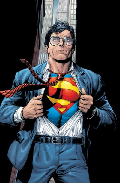 superman comic illustration clark kent ripping suit