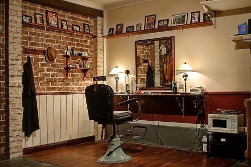 Home barbershop in garage basement.