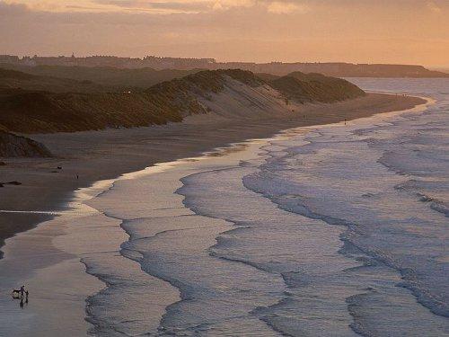 beach front ocean at dusk dawn