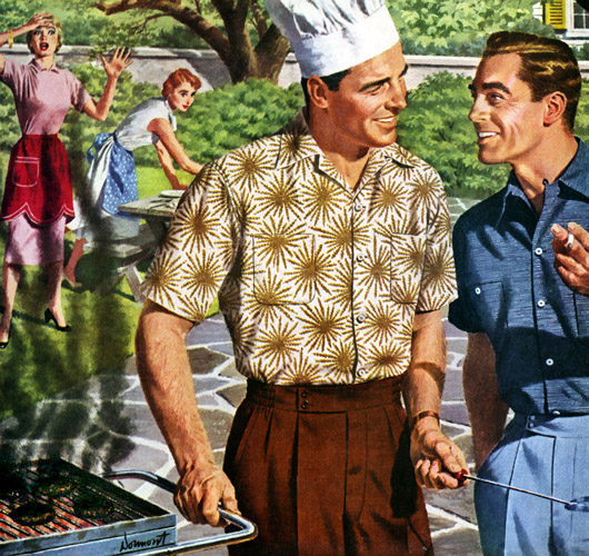 vintage party men grilling burgers painting illustration