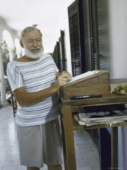 Hemingway working in the porch with standing desk.