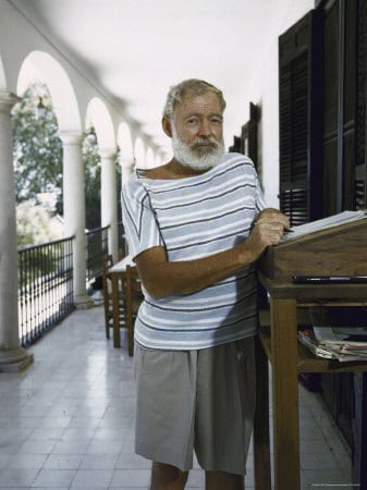 ernest hemingway standing desk on balcony color photo