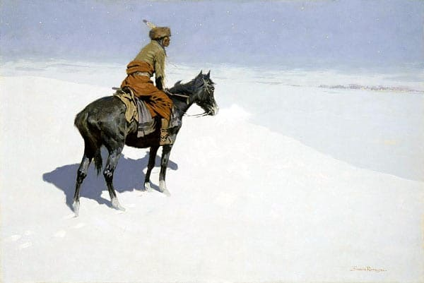 Native American Indian scout on horseback in winter season painting.