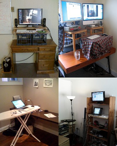 homemade jerry rigged standing desk iron board table