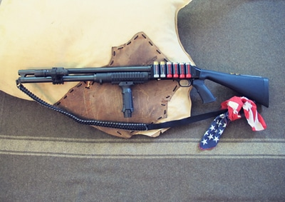 survival shotgun modified zombie apocalypse usa bandana