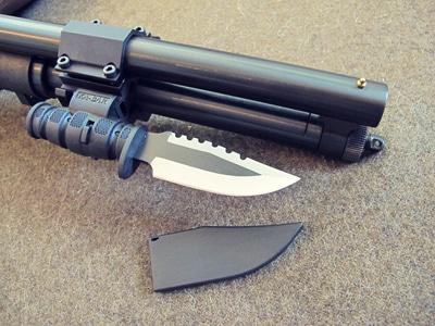 Survival shotgun modified zombie apocalypse ka bar knife.