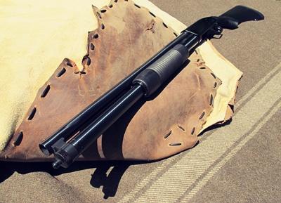 Vintage pump action shotgun illustration.