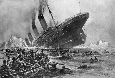 titanic sinking view from rowboat painting drawing