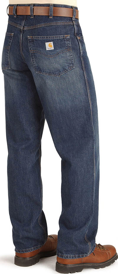 Carhart denim work Jeans with brown boots