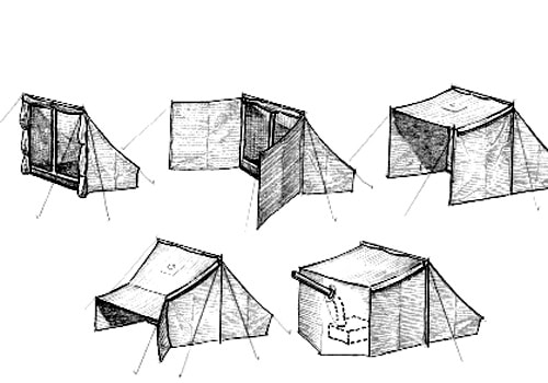 Campfire tent setups variations drawing illustration.