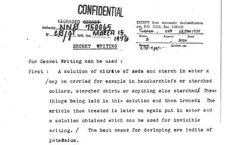 confidential memo via making invisible ink formula