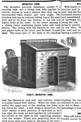 Vintage magazine article about desk.