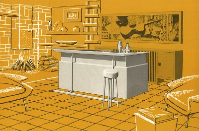 vintage home bar in house illustration