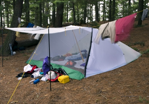 lean to nylon tent with bug screen net set up in woods
