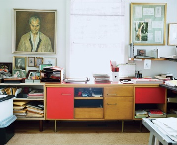 mid century modern vintage desk red doors in office