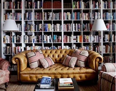 vintage chesterfield tufted sofa brown in library
