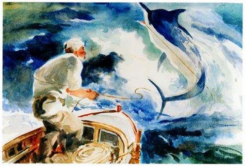 old man and the sea fighting marlin painting
