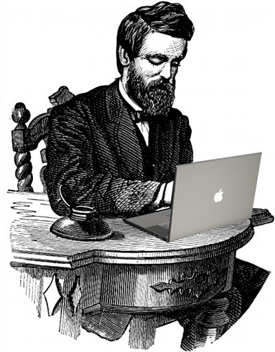 vintage drawing man at desk with macbook computer
