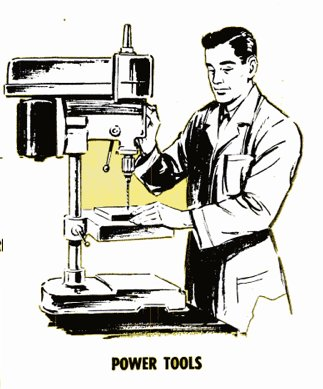 vintage man using drill press power tools illustration