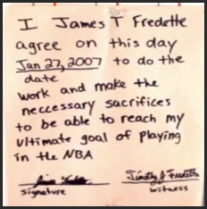 james jimmer fredette note to himself 2007 nba goal