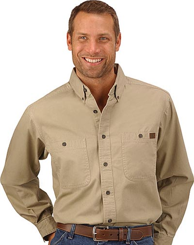 western work shirt beige blue collar working wear
