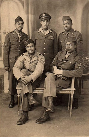 African American Military men group in uniform dresses.