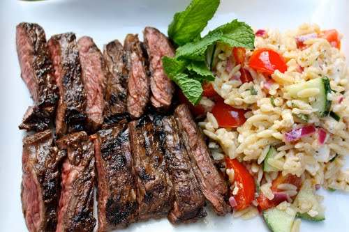 Grilled Skirt Steak with Orzo Pasta Salad tomatoes mint