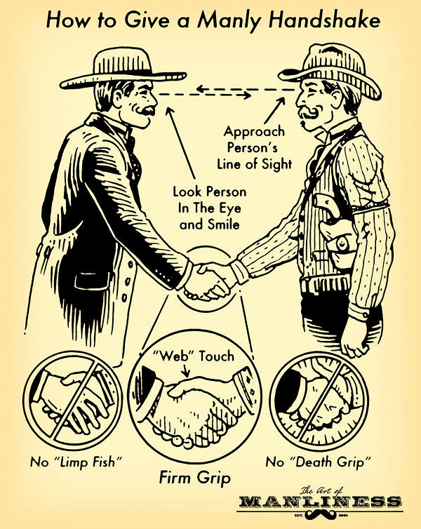 "No ""limp fish."" ""Web"" touch. Firm grip. Look person in eye and smile.  Approach person's line of sight. No ""death grip."""