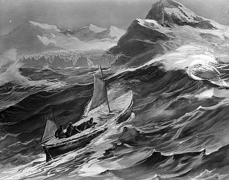 shackleton expedition small boat big waves painting