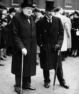 winston churchill neville chamberlain standing together canes