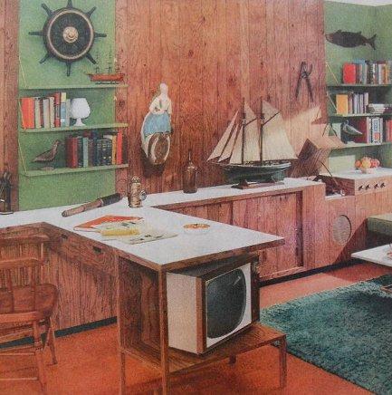 Vintage mid century den tv ship model illustration painting.