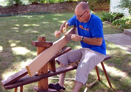 making canoe paddle shaving planing wood shaving bench
