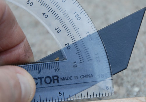 triangle sharpener measuring angle with protractor