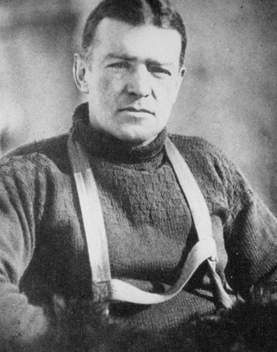 ernest shackleton explorer wearing turtleneck sweater close up