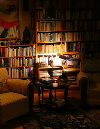 man room cave shelves filled with books lamp