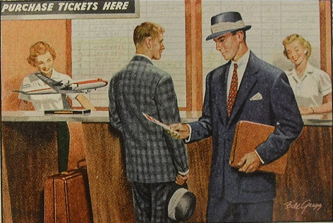 vintage well dressed man at airline counter airport painting