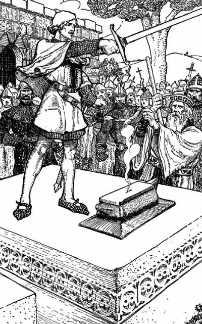 King Arthur illustration removing sword from stone.