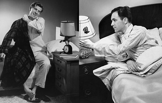 vintage man waking and putting out lamp for bed