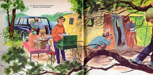 Vintage 1950's illustration of family camping with kids.
