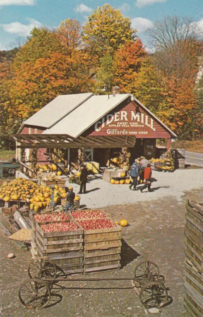 vintage illustration cider mill apples fall leaves