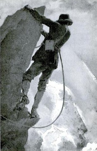 Vintage man climbing on rocky mountain with tethered cable.