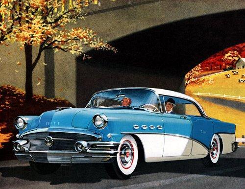 vintage illustration couple taking autumn drive blue car
