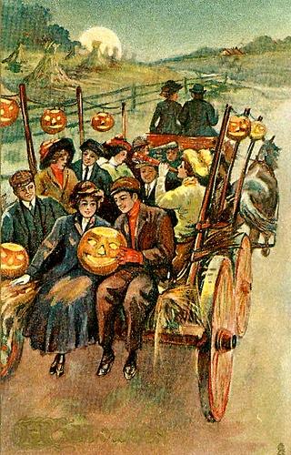 vintage illustration couple on back of hayride moonlit