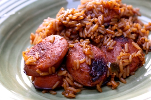 Smoked Sausage Jambalaya on plate easy meals with rice